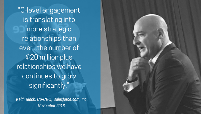 "_C-level engagement is translating into more strategic relationships than ever...the number of $20 million plus relationships we have continues to grow significantly."" (1)"