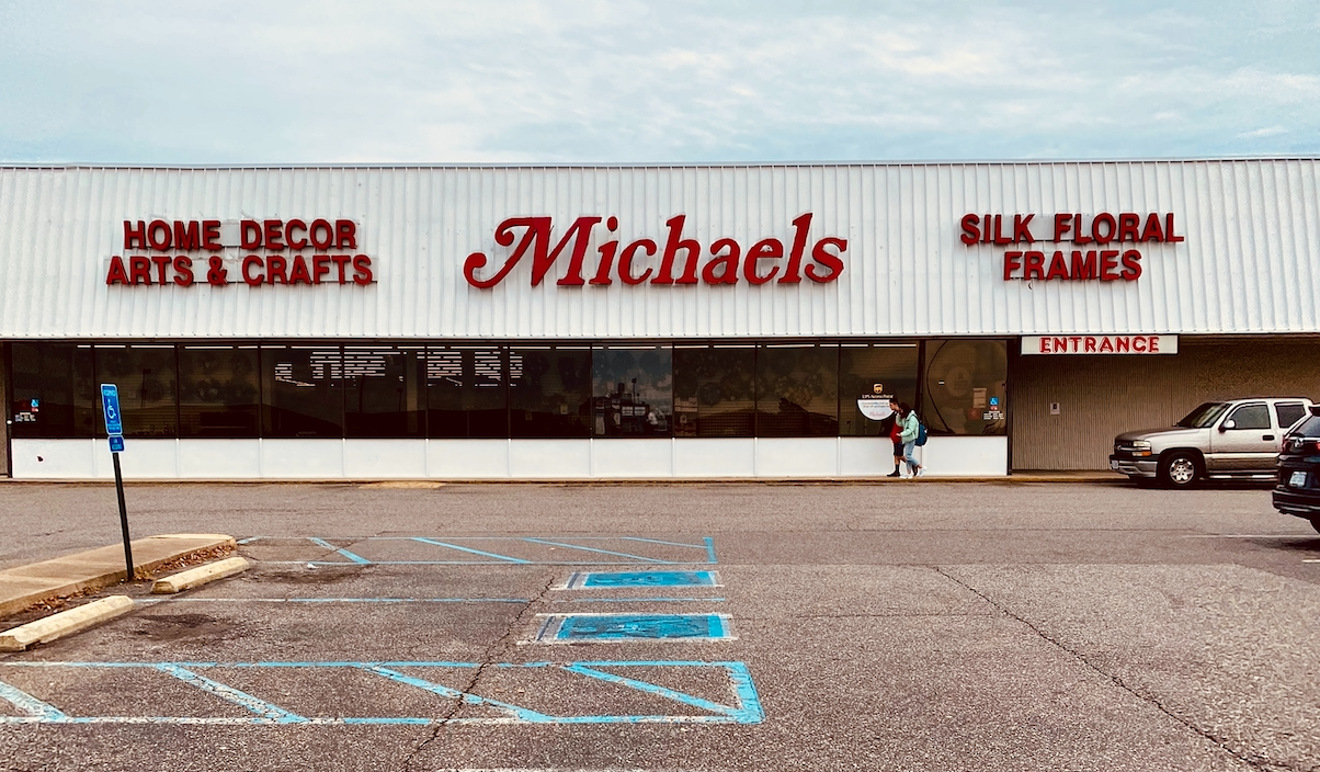 The storefront of a Michaels arts and crafts store